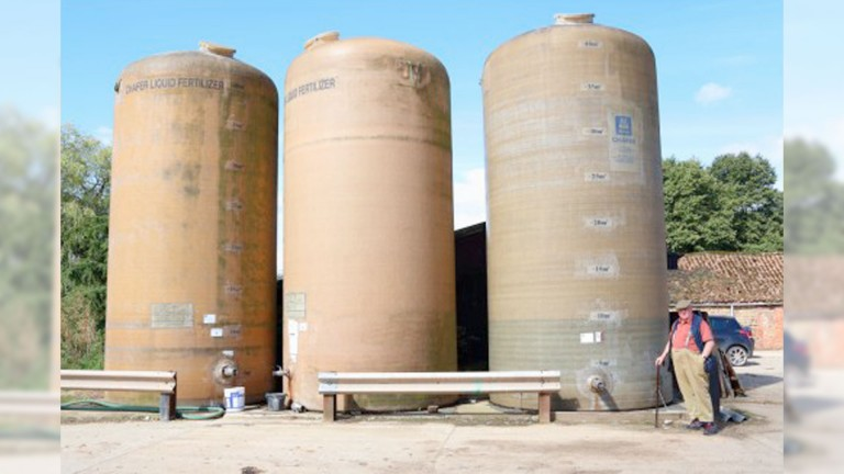 Mick Easterby inspects his fertiliser storage towers