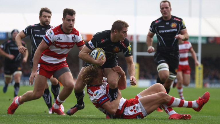 Exeter fly-half Gareth Steenson (centre) can steer his team to victory