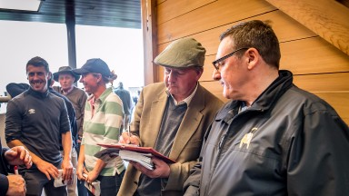 Tim Easterby and Simon Bridge from Ontoawinner after securing a Mayson filly at the Silver Sale