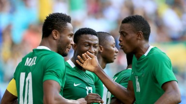 John Obi Mikel and Nigeria teammates celebrate a goal on the way to winning bronze at last year's Olympics in Brazil