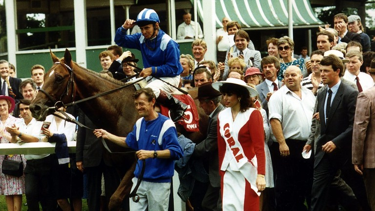 Willie Carson is led in on Nashwan after winning the 1989 Eclipse at Sandown