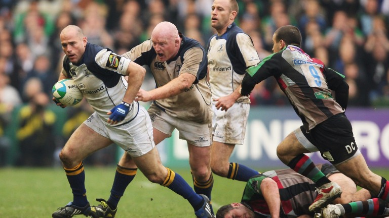 Dragons coach Bernard Jackman (supporting ball-carrier) in his Leinster playing days