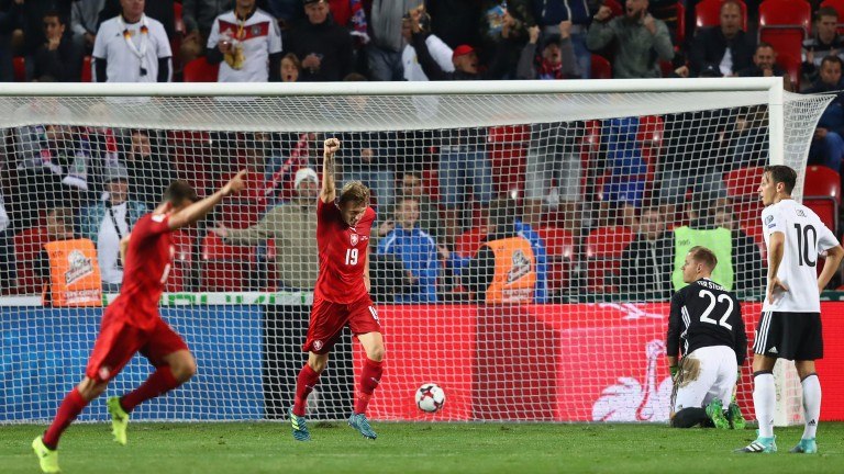 Vladimir Darida of the Czech Republic celebrates his goal against Germany