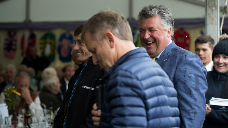 All smiles: Paul Nicholls shares a joke with TV presenter Jeremy Kyle