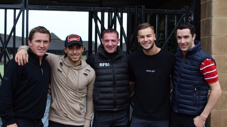Love Island stars Kem Cetinay (second left) and Chris Hughes (second right) spent a morning at Jackdaws Castle with Sir Anthony McCoy, Richie McLernon and Aidan Coleman