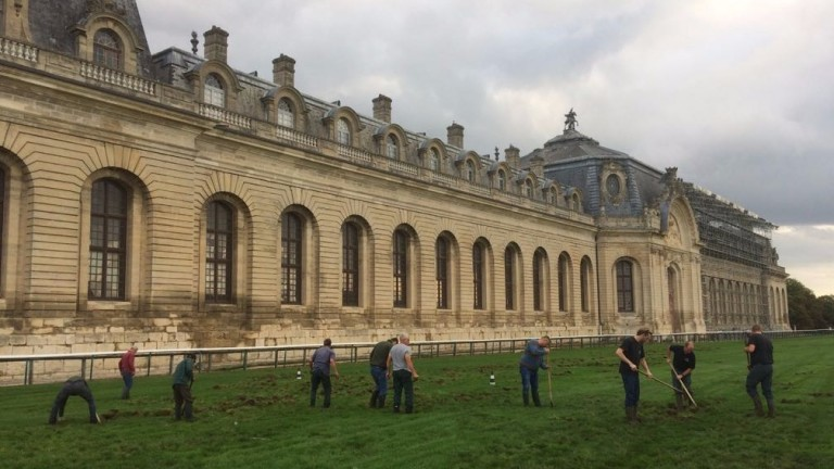 France Galop ground staff repair the damage caused overnight by a party of wild boar at Chantilly