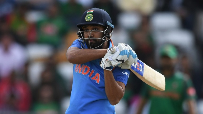 Rohit Sharma of India hits a six