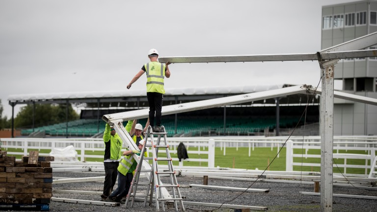 The new family fun marquee being erected on the infield at the Curragh for the second leg of Irish Champions Weekend
