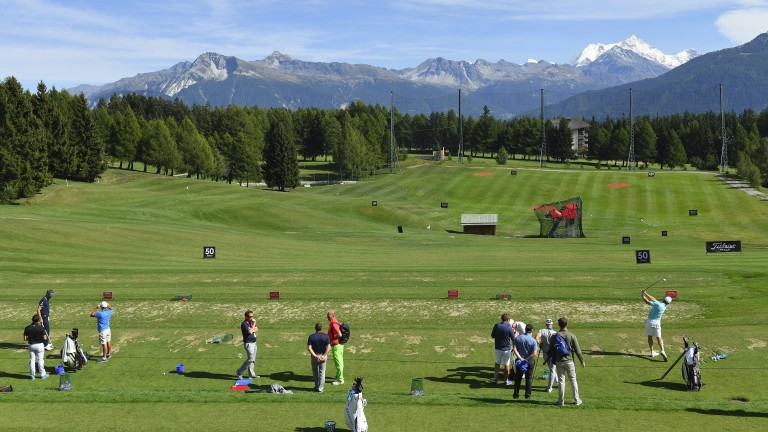 Players get some practice in at Crans-sur-Sierre