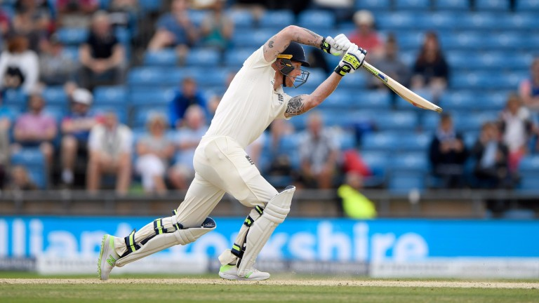 Ben Stokes drives to the Headingly boundary