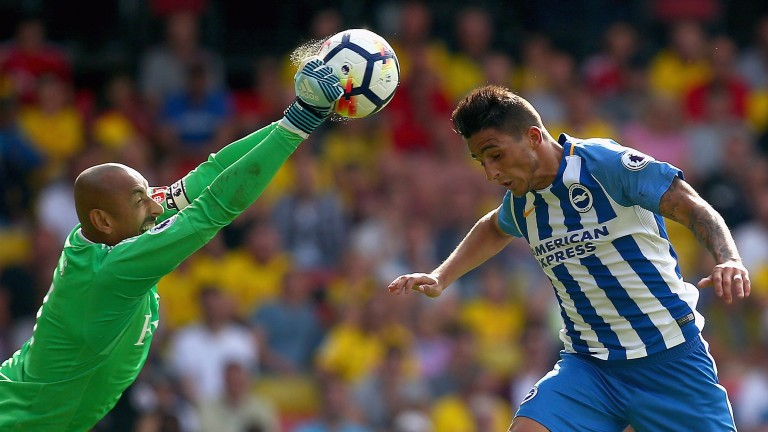 Brighton's Anthony Knockaert goes in for a header against Watford