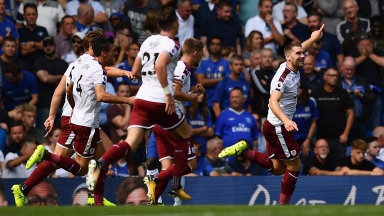 Sam Vokes celebrates after scoring against Chelsea