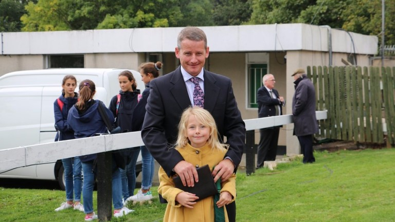 Tom Malone with his daughter Casey at the Goffs Champions Sale on Saturday