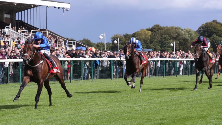 Harry Angel and Adam Kirby stretch out to land the 32Red Sprint Cup