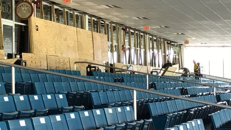 Tampa Bay Downs: the grandstand was boarded up as the hurricane moved through the area
