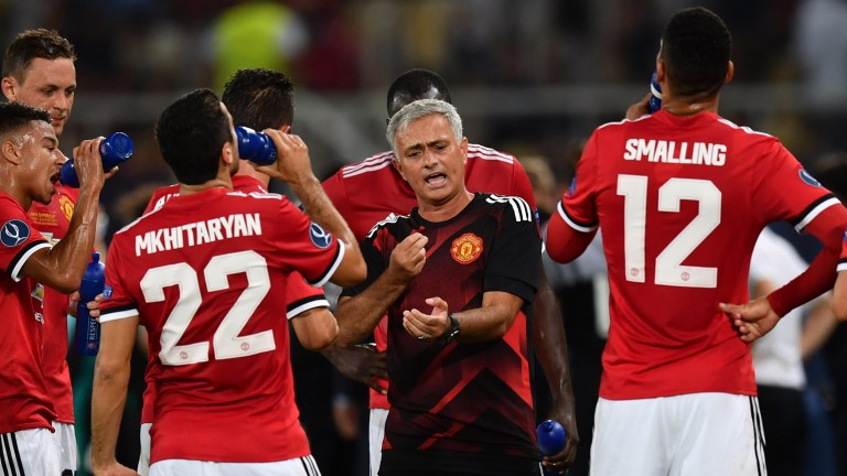 United boss Jose Mourinho gives his team instructions