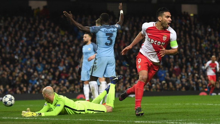 Radamel Falcao, pictured after scoring against Manchester City in last season's Champions League, could feature for Monaco