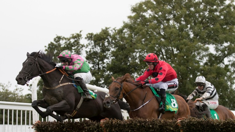 On The Go Again and Ross O'Sullivan (left) head for victory at Listowel last year