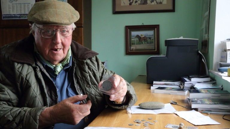 Trainer Mick Easterby with some of the ancient coins found on his land at Sheriff Hutton in North Yorkshire