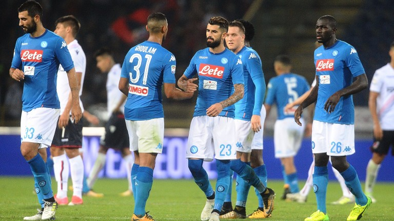 Napol;i celebrate a goal against Bologna this month