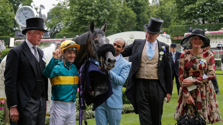 Olivier Peslier in the Ascot winners' enclosure after steering Coronet to success for John Gosden