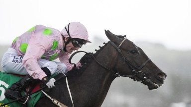 Heads down: the Willie Mullins-trained Riven Light and Kevin Manning land the Listed Edmund and Josie Whelan Memorial Listowel Stakes