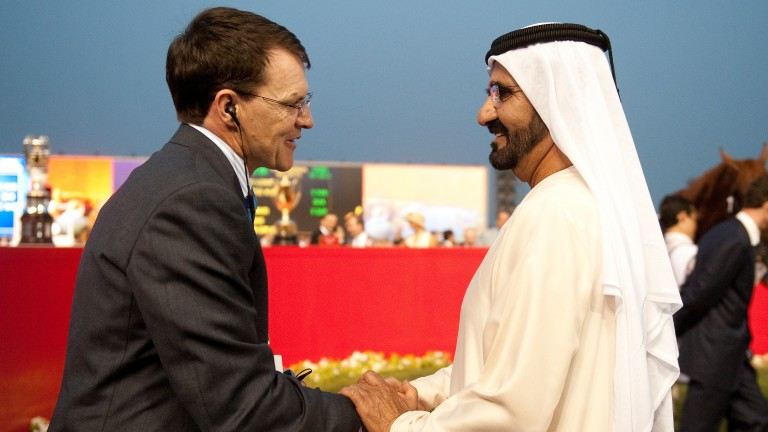 Sheikh Mohammed and Aidan O'Brien, Coolmore's principal trainer, show the courtesy that already exists between the camps