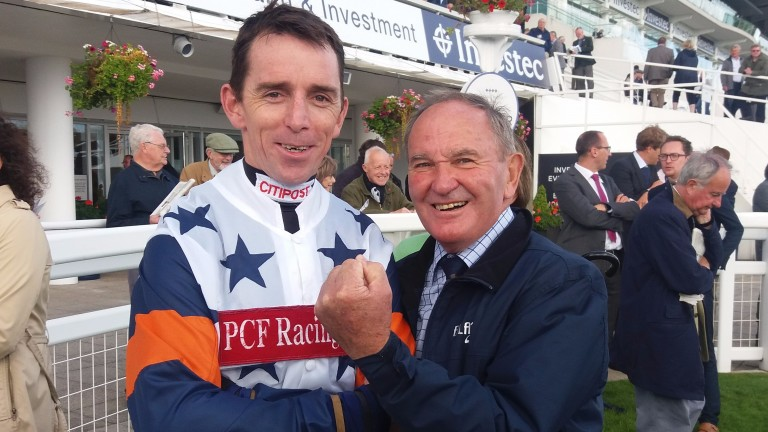 Leighton Aspell and Peter Hedger after victory in the Jump Jockeys' Derby