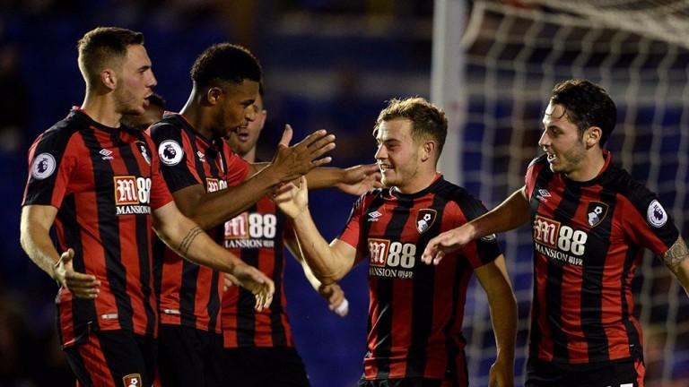 Bournemouth celebrate a Carabao Cup goal at Birmingham