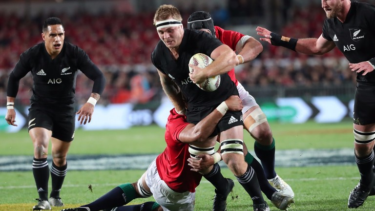 Sam Cane goes on the charge for the Al Blacks against the Biritsh & Irish Lions
