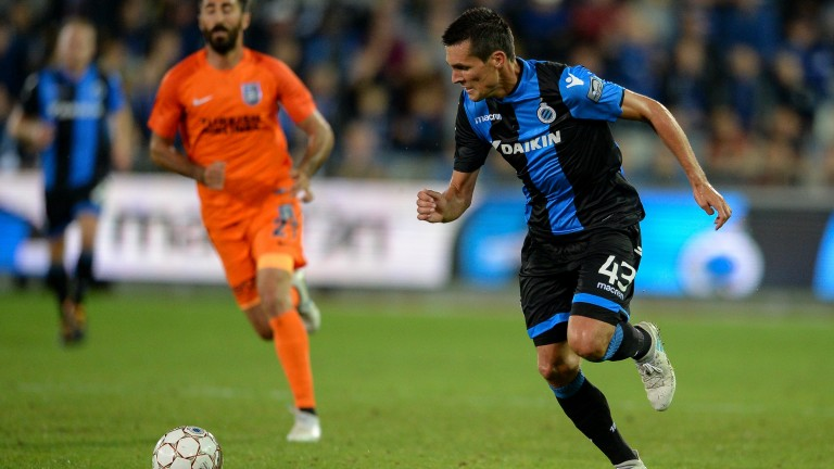 Club Brugge's Jeremy Perbet makes a break in the Champions League qualifiers