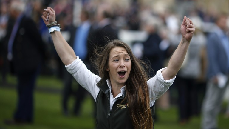 DONCASTER, ENGLAND - SEPTEMBER 15: The stable lass to Heartache celebrates its victory at Doncaster racecourse on September 15, 2017 in Doncaster, United Kingdom. (Photo by Alan Crowhurst/Getty Images)