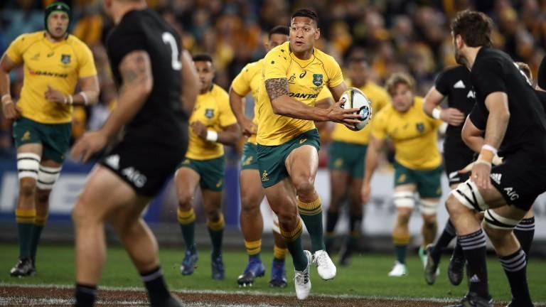 Australia ace Israel Folau takes on the New Zealand defence last month