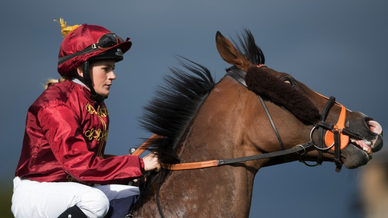 A real handful: Rosie Jessop does a good job of settling Pallasator before the Doncaster Cup