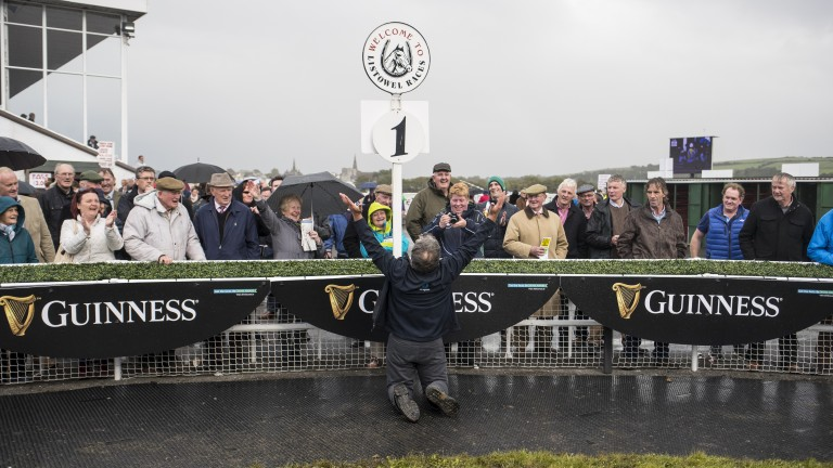 Waterford trainer Tom Cummins is not one to hide his emotions after saddling his first winner in three years at Listowel on Wednesday; Racing Post photographer Patrick McCann was on hand to capture the celebrations