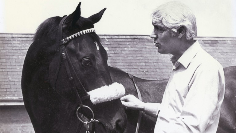 Geoff Wragg with Teenoso after the colt's 1983 Derby win