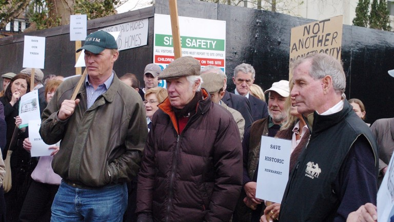 John Gosden (left), Geoff Wragg (centre) and Clive Brittain protest against the Bury Road development in Newmarket