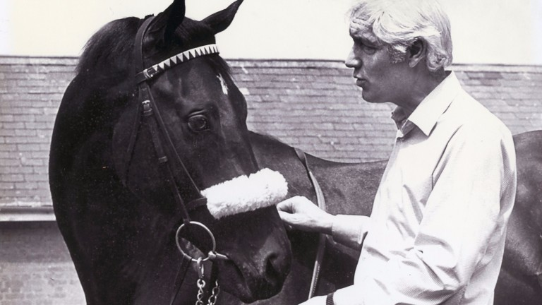 Geoff Wragg with Teenoso after the colt had won the 1983 Derby