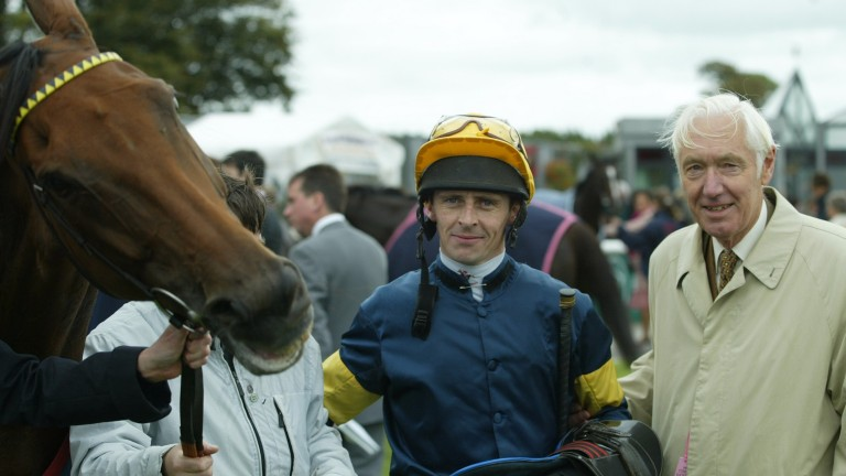 Wragg with jockey Ted Durcan and Monturani after victory at the Curragh in 2004