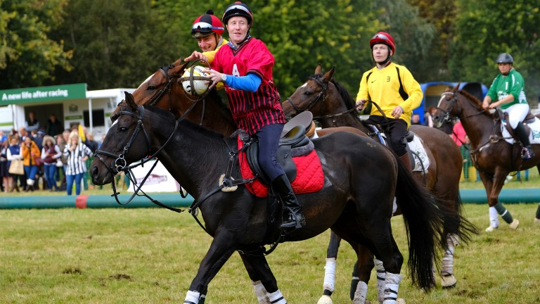 Horsing around: horse ball with jockeys Pat Cosgrave (near), Adam Kirby and Jamie Spencer