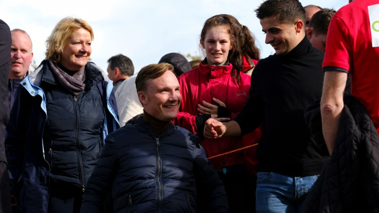 Likely lads: Freddy Tylicki, alongside Andrea Atzeni (right), is all smiles during the Newmarket open weekend