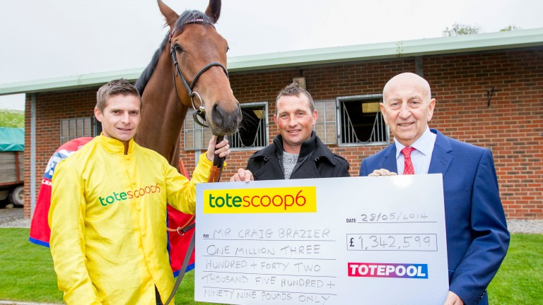 Scoop6 millionaire Craig Brazier with Betfred boss Fred Done and Chatez, the horse who won him a share of a record £15m pool in May 2014