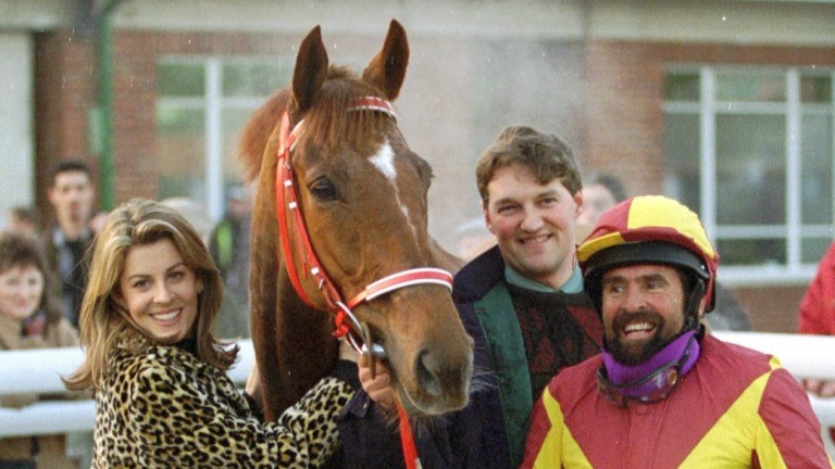 Davy Jones, of Monkees fame and former amateur rider, after winning at Lingfield in 1996