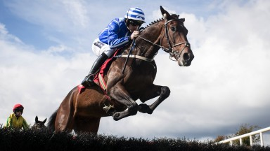 Highflyer: Stratum puts in a bold jump under Ruby Walsh on the way to winning the opening maiden hurdle