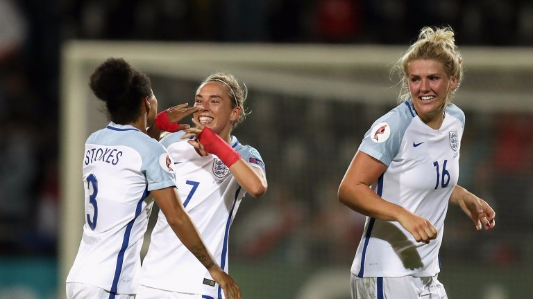 England celebrate victory against France
