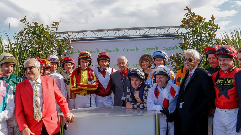 Last year's Leger Legends pose with Lester Piggott, with this year's race run on Wednesday