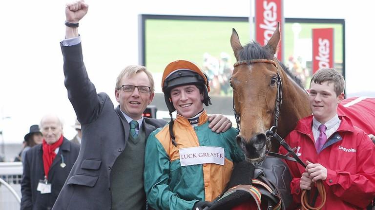 Warren Greatrex celebrates Cole Harden's World Hurdle triumph with jockey Gavin Sheehan