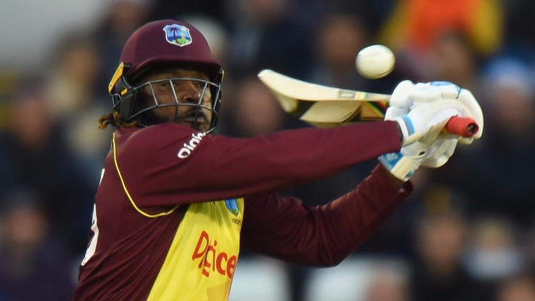 Chris Gayle goes after the bowling in the West Indies' Twenty20 win over England