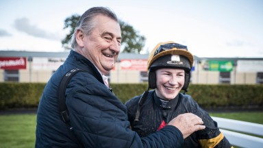 Noel Meade gives Nina Carberry a hug after making a winning comeback aboard Cask Mate at Ballinrobe