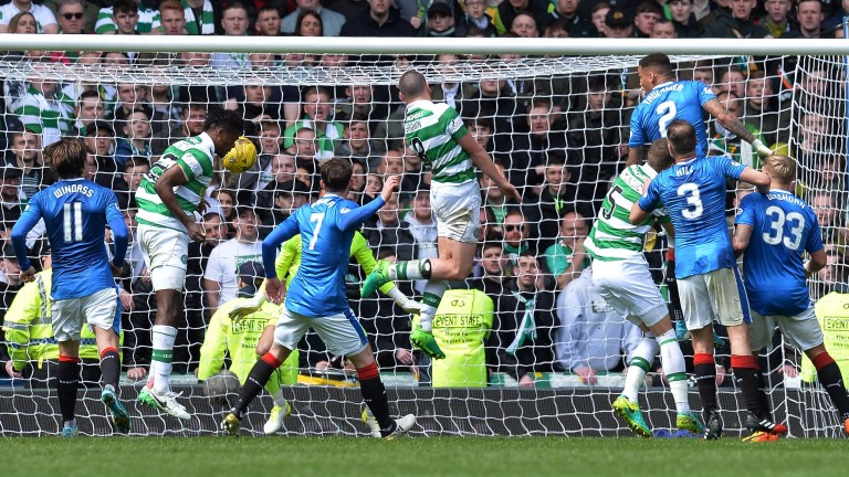Dedryck Boyata scores Celtic's fourth goal in their 5-1 win over Rangers at Ibrox in April
